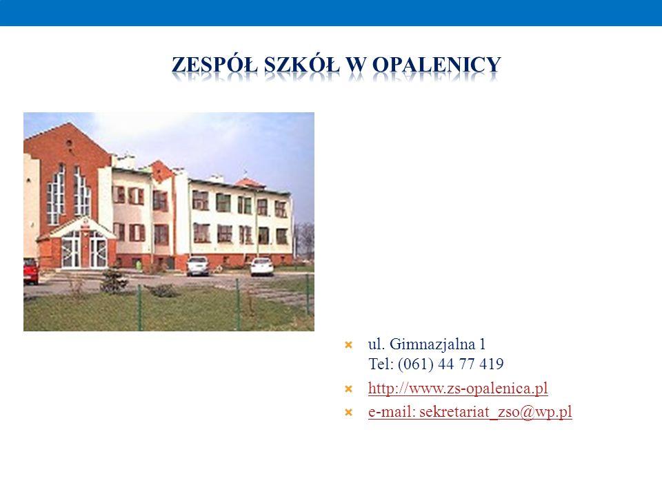 ul. Gimnazjalna 1 Tel: (061) 44 77 419 http://www.zs-opalenica.pl e-mail: sekretariat_zso@wp.pl