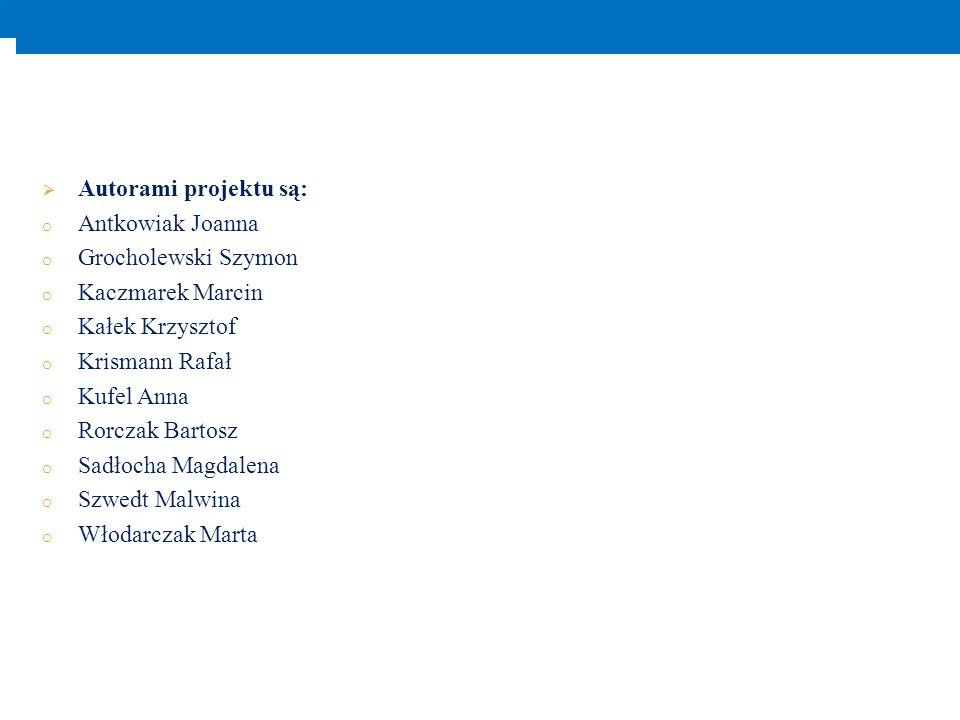 Autorami projektu są: o Antkowiak Joanna o Grocholewski Szymon o Kaczmarek Marcin o Kałek Krzysztof o Krismann Rafał o Kufel Anna o Rorczak Bartosz o