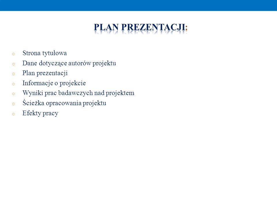 o Strona tytułowa o Dane dotyczące autorów projektu o Plan prezentacji o Informacje o projekcie o Wyniki prac badawczych nad projektem o Ścieżka oprac