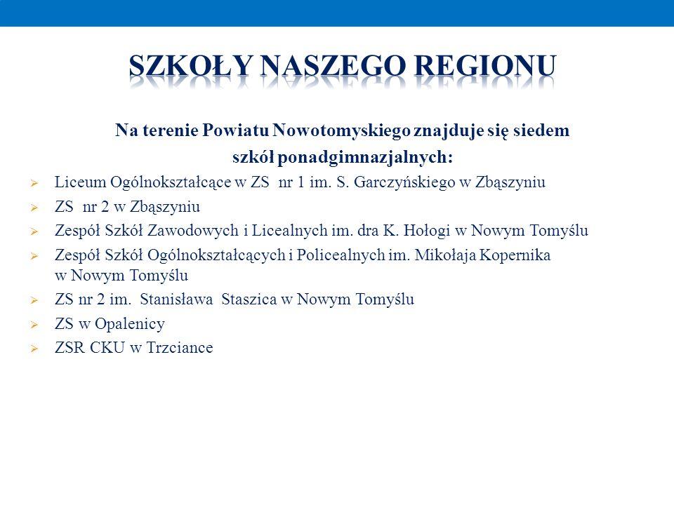 Na terenie Powiatu Nowotomyskiego znajduje się siedem szkół ponadgimnazjalnych: Liceum Ogólnokształcące w ZS nr 1 im. S. Garczyńskiego w Zbąszyniu ZS