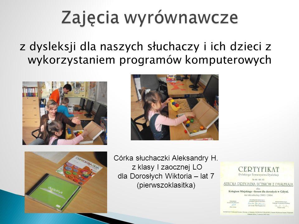 z dysleksji dla naszych słuchaczy i ich dzieci z wykorzystaniem programów komputerowych Córka słuchaczki Aleksandry H.