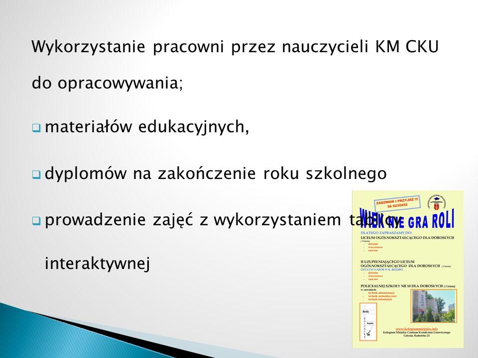 Wykorzystanie pracowni przez nauczycieli KM CKU do opracowywania; materiałów edukacyjnych, dyplomów na zakończenie roku szkolnego prowadzenie zajęć z wykorzystaniem tablicy interaktywnej