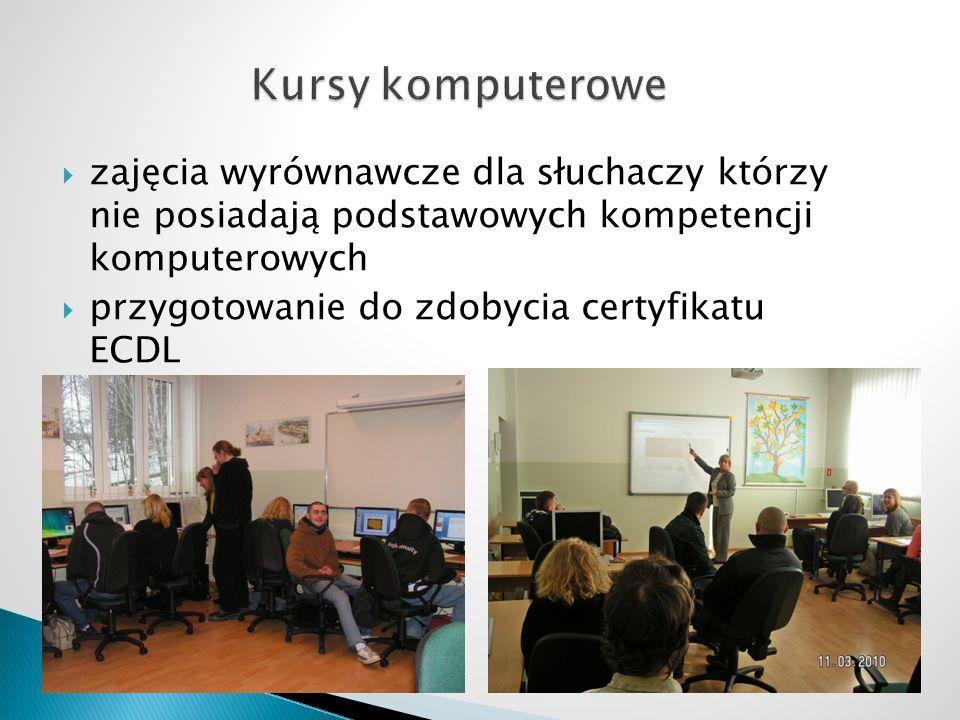 zajęcia wyrównawcze dla słuchaczy którzy nie posiadają podstawowych kompetencji komputerowych przygotowanie do zdobycia certyfikatu ECDL