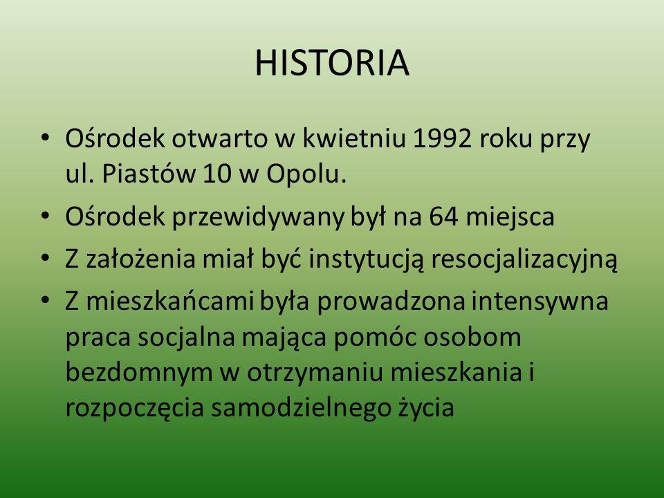 HISTORIA Ośrodek otwarto w kwietniu 1992 roku przy ul. Piastów 10 w Opolu. Ośrodek przewidywany był na 64 miejsca Z założenia miał być instytucją reso