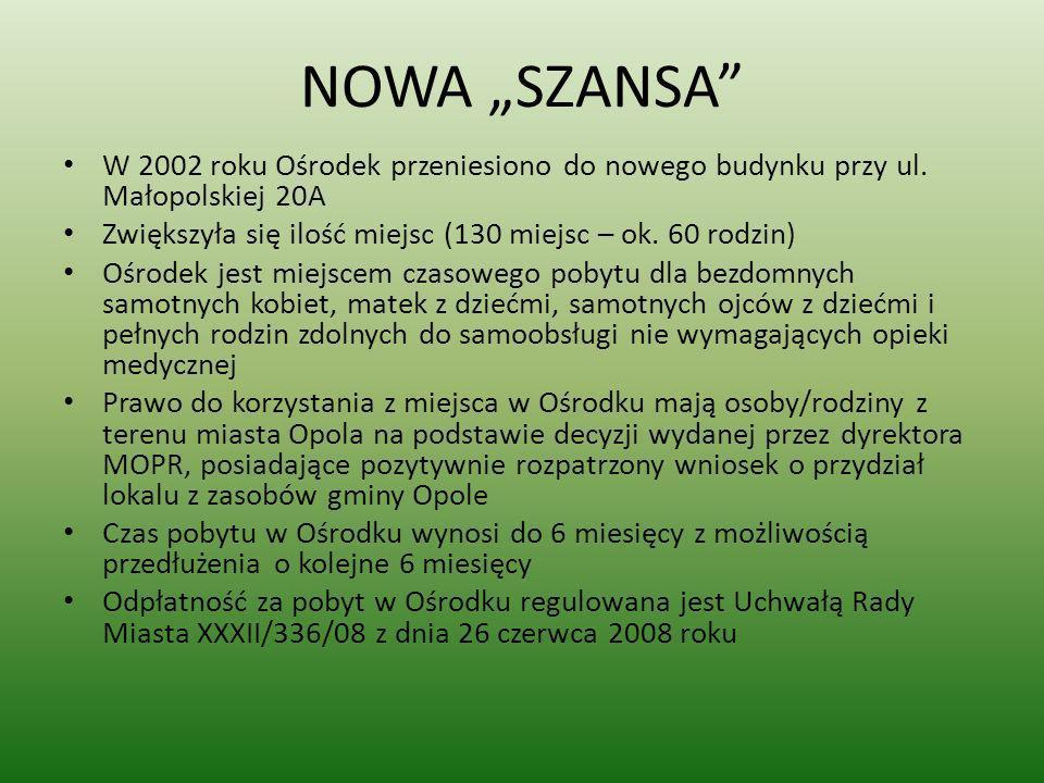 NOWA SZANSA W 2002 roku Ośrodek przeniesiono do nowego budynku przy ul. Małopolskiej 20A Zwiększyła się ilość miejsc (130 miejsc – ok. 60 rodzin) Ośro