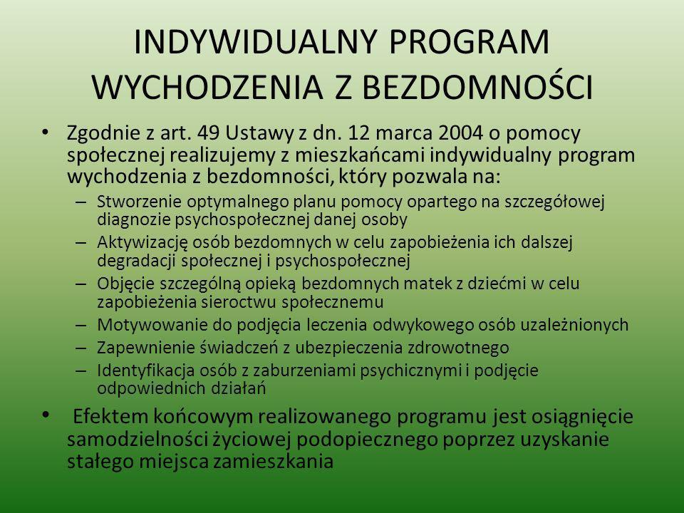 INDYWIDUALNY PROGRAM WYCHODZENIA Z BEZDOMNOŚCI Zgodnie z art. 49 Ustawy z dn. 12 marca 2004 o pomocy społecznej realizujemy z mieszkańcami indywidualn