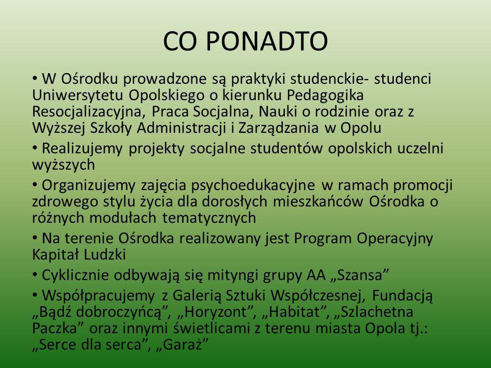 CO PONADTO W Ośrodku prowadzone są praktyki studenckie- studenci Uniwersytetu Opolskiego o kierunku Pedagogika Resocjalizacyjna, Praca Socjalna, Nauki