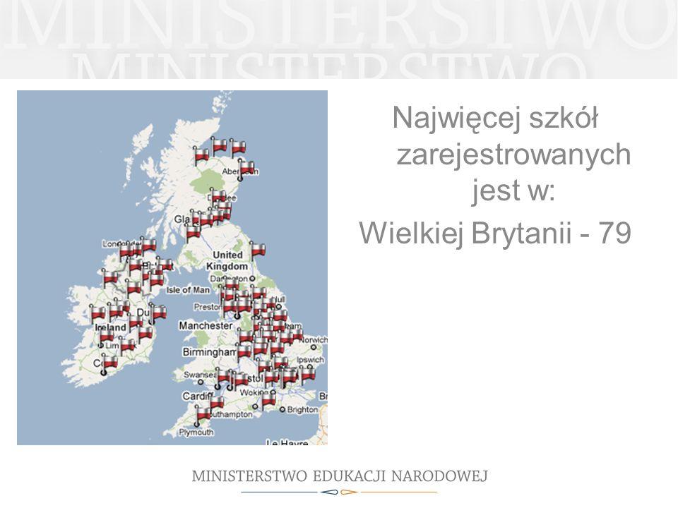 Najwięcej szkół zarejestrowanych jest w: Wielkiej Brytanii - 79