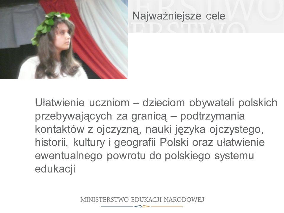 Najważniejsze cele Ułatwienie uczniom – dzieciom obywateli polskich przebywających za granicą – podtrzymania kontaktów z ojczyzną, nauki języka ojczys