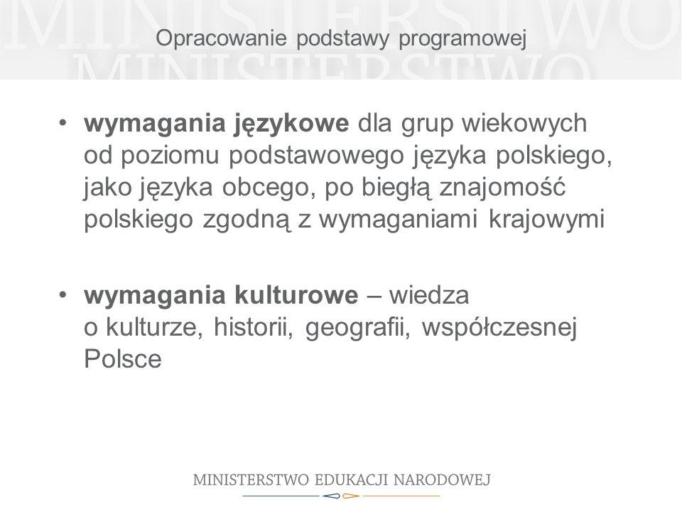 Opracowanie podstawy programowej wymagania językowe dla grup wiekowych od poziomu podstawowego języka polskiego, jako języka obcego, po biegłą znajomo