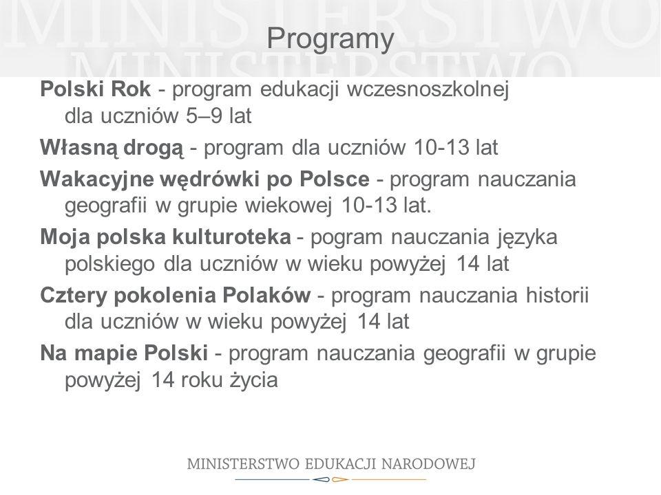 Programy Polski Rok - program edukacji wczesnoszkolnej dla uczniów 5–9 lat Własną drogą - program dla uczniów 10-13 lat Wakacyjne wędrówki po Polsce -