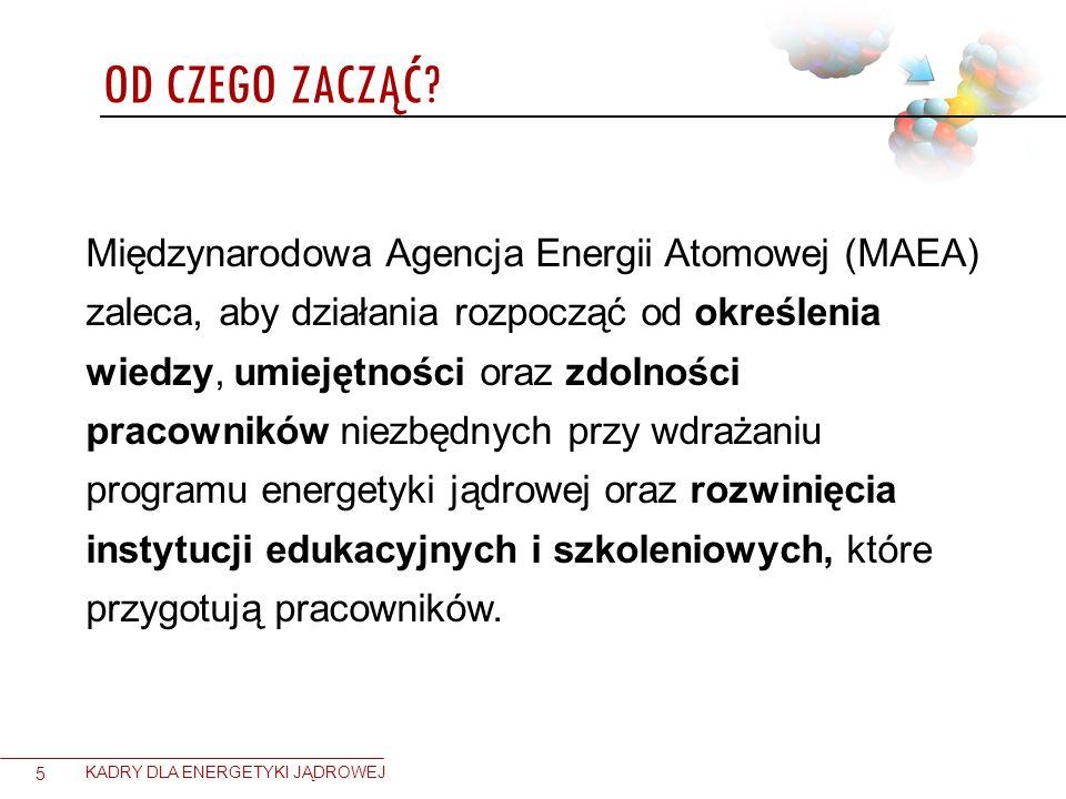OD CZEGO ZACZĄĆ? 5 KADRY DLA ENERGETYKI JĄDROWEJ Międzynarodowa Agencja Energii Atomowej (MAEA) zaleca, aby działania rozpocząć od określenia wiedzy,