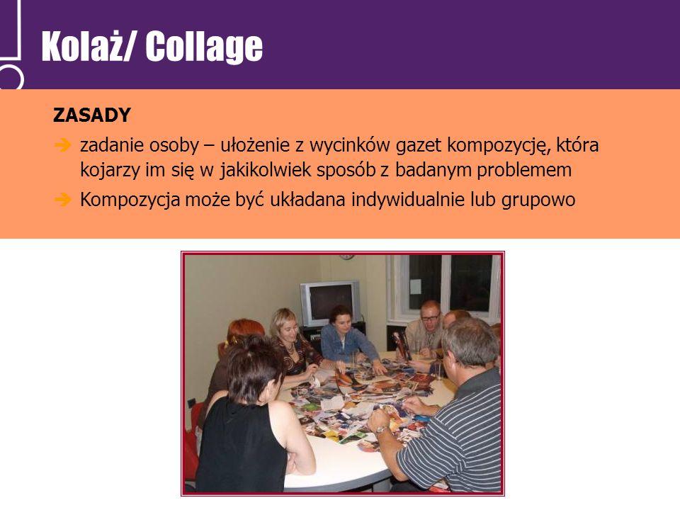 Kolaż/ Collage ZASADY zadanie osoby – ułożenie z wycinków gazet kompozycję, która kojarzy im się w jakikolwiek sposób z badanym problemem Kompozycja m