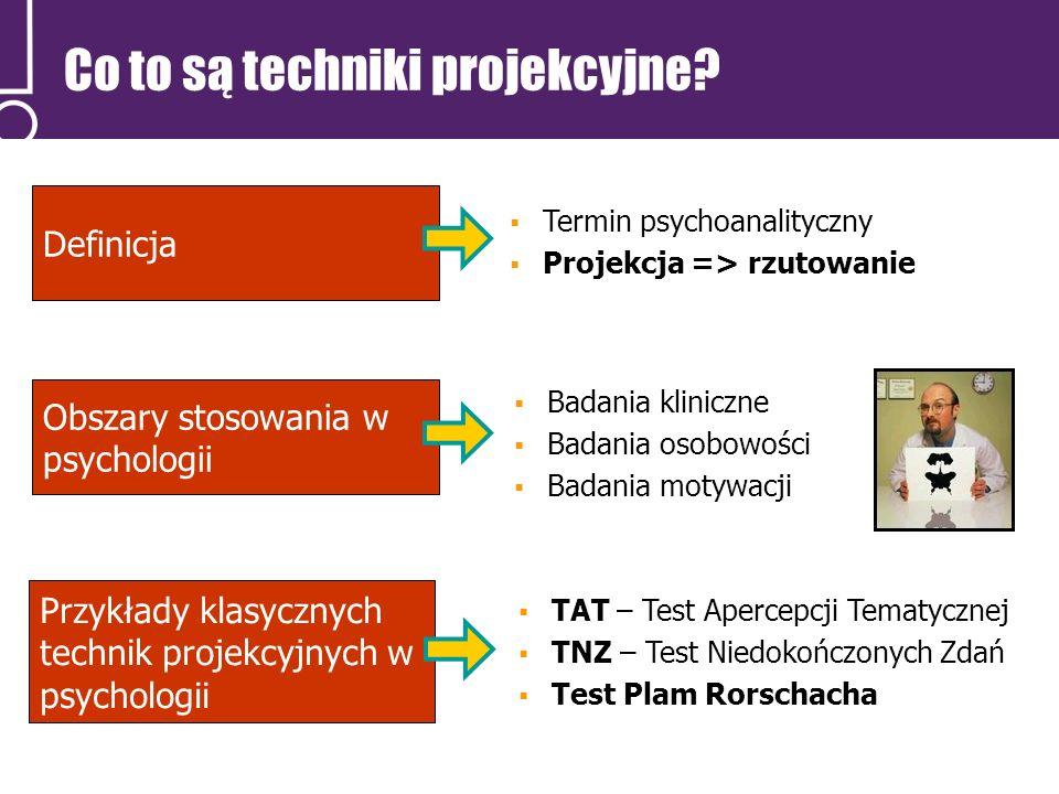 Definicja Badania kliniczne Badania osobowości Badania motywacji Przykłady klasycznych technik projekcyjnych w psychologii TAT – Test Apercepcji Temat