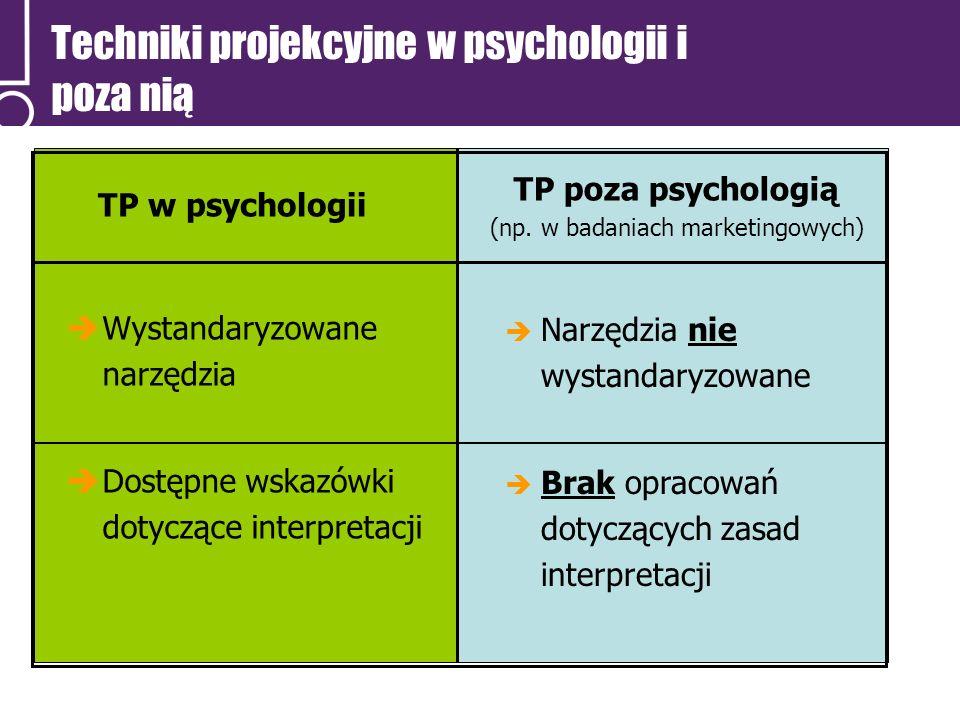 Techniki projekcyjne w psychologii i poza nią Wystandaryzowane narzędzia Dostępne wskazówki dotyczące interpretacji TP poza psychologią (np. w badania