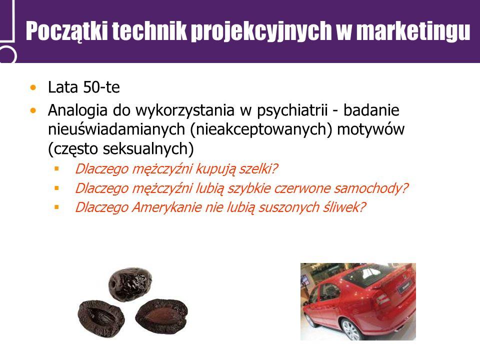 Początki technik projekcyjnych w marketingu Lata 50-te Analogia do wykorzystania w psychiatrii - badanie nieuświadamianych (nieakceptowanych) motywów