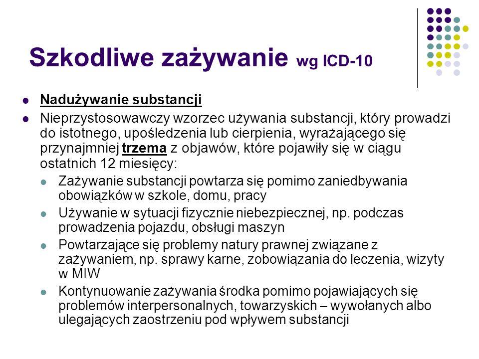 Szkodliwe zażywanie wg ICD-10 Nadużywanie substancji Nieprzystosowawczy wzorzec używania substancji, który prowadzi do istotnego, upośledzenia lub cie