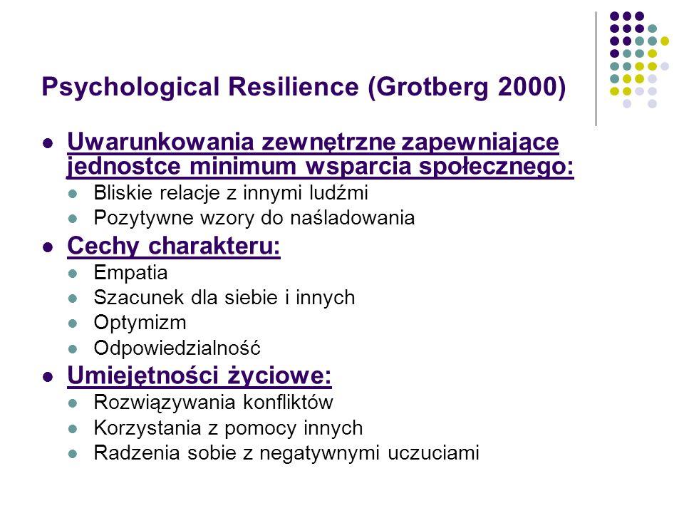 Psychological Resilience (Grotberg 2000) Uwarunkowania zewnętrzne zapewniające jednostce minimum wsparcia społecznego: Bliskie relacje z innymi ludźmi