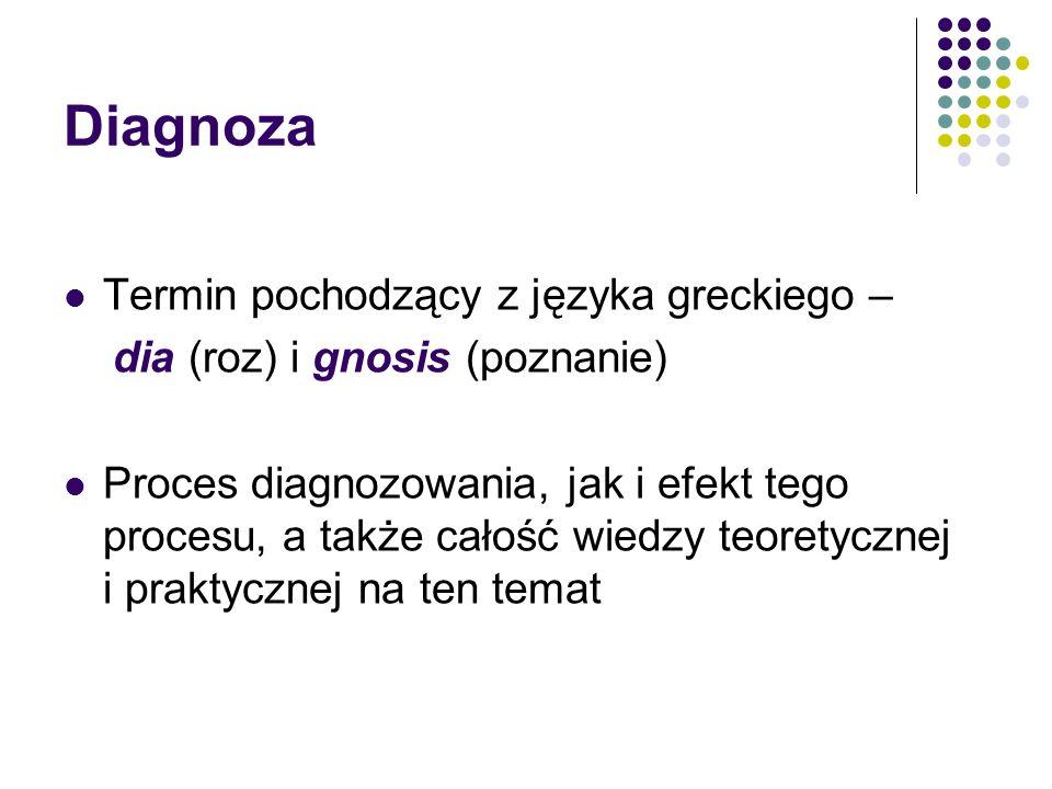 Diagnoza Termin pochodzący z języka greckiego – dia (roz) i gnosis (poznanie) Proces diagnozowania, jak i efekt tego procesu, a także całość wiedzy te