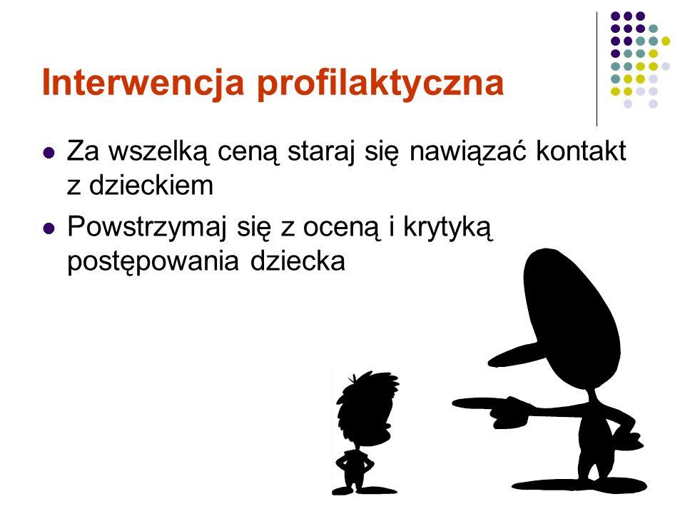 Interwencja profilaktyczna Za wszelką ceną staraj się nawiązać kontakt z dzieckiem Powstrzymaj się z oceną i krytyką postępowania dziecka