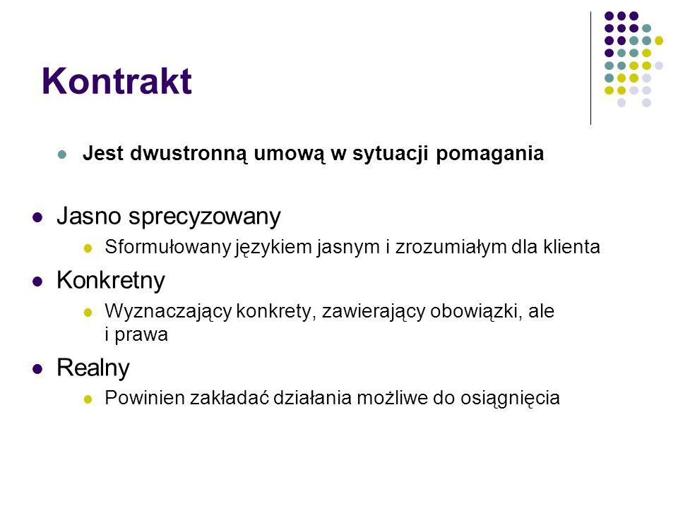 Kontrakt Jest dwustronną umową w sytuacji pomagania Jasno sprecyzowany Sformułowany językiem jasnym i zrozumiałym dla klienta Konkretny Wyznaczający k