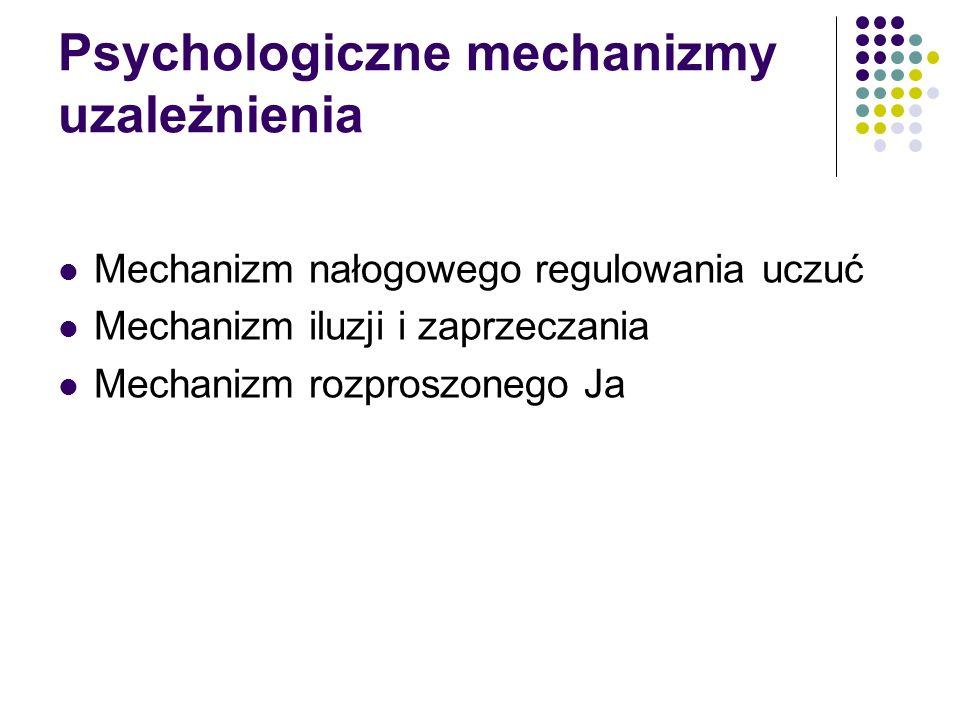 Psychologiczne mechanizmy uzależnienia Mechanizm nałogowego regulowania uczuć Mechanizm iluzji i zaprzeczania Mechanizm rozproszonego Ja