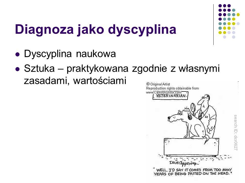Diagnoza jako dyscyplina Dyscyplina naukowa Sztuka – praktykowana zgodnie z własnymi zasadami, wartościami