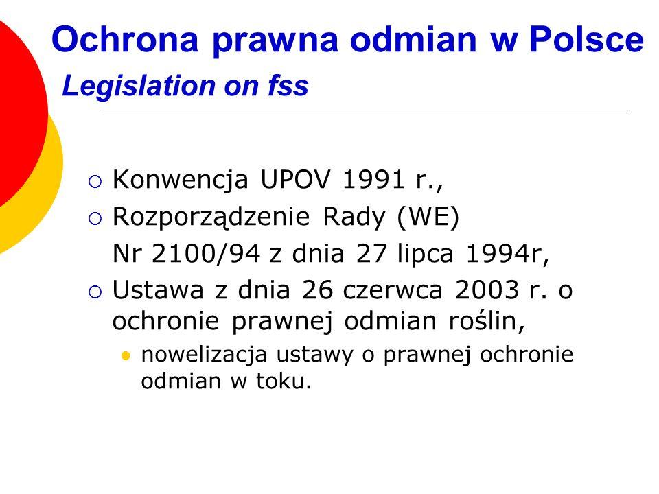 Ochrona prawna odmian w Polsce Legislation on fss Konwencja UPOV 1991 r., Rozporządzenie Rady (WE) Nr 2100/94 z dnia 27 lipca 1994r, Ustawa z dnia 26
