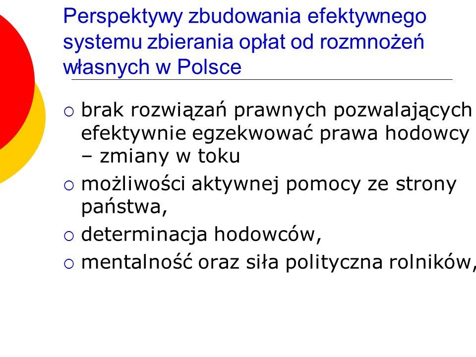 Perspektywy zbudowania efektywnego systemu zbierania opłat od rozmnożeń własnych w Polsce brak rozwiązań prawnych pozwalających efektywnie egzekwować