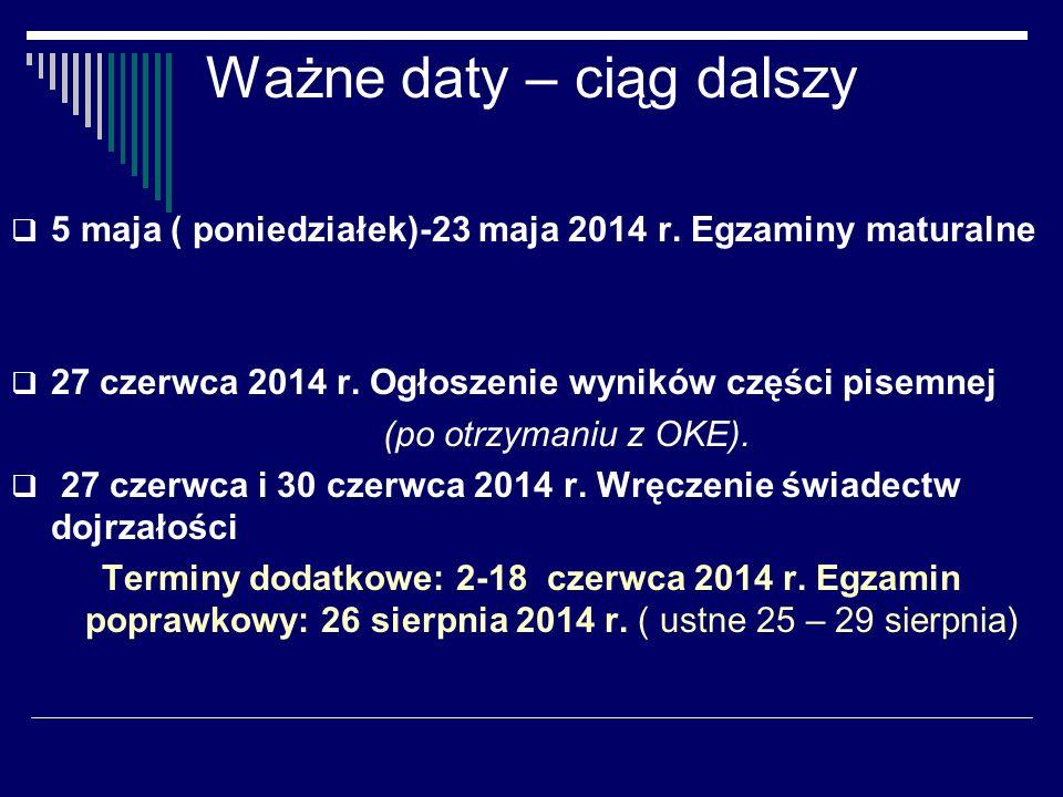 Ważne daty – ciąg dalszy 5 maja ( poniedziałek)-23 maja 2014 r.