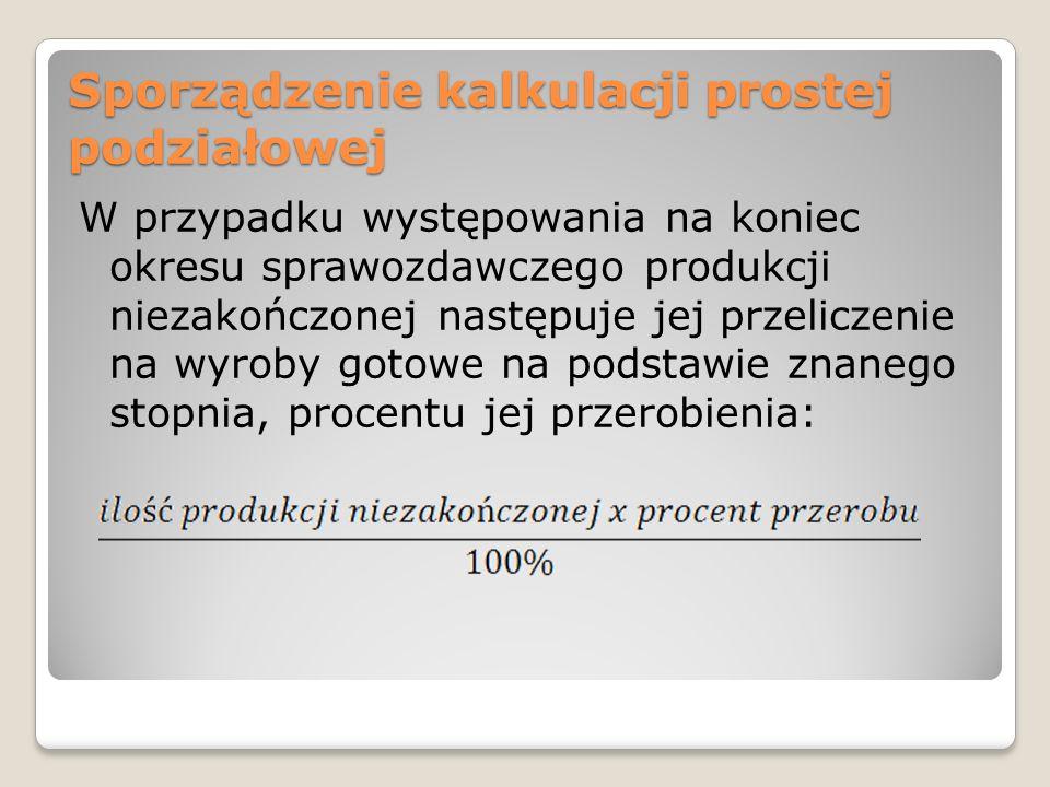 Przykład 1 Założenia: Suma poniesionych kosztów bezpośrednich i pośrednich działalności podstawowej wynosi 48000.