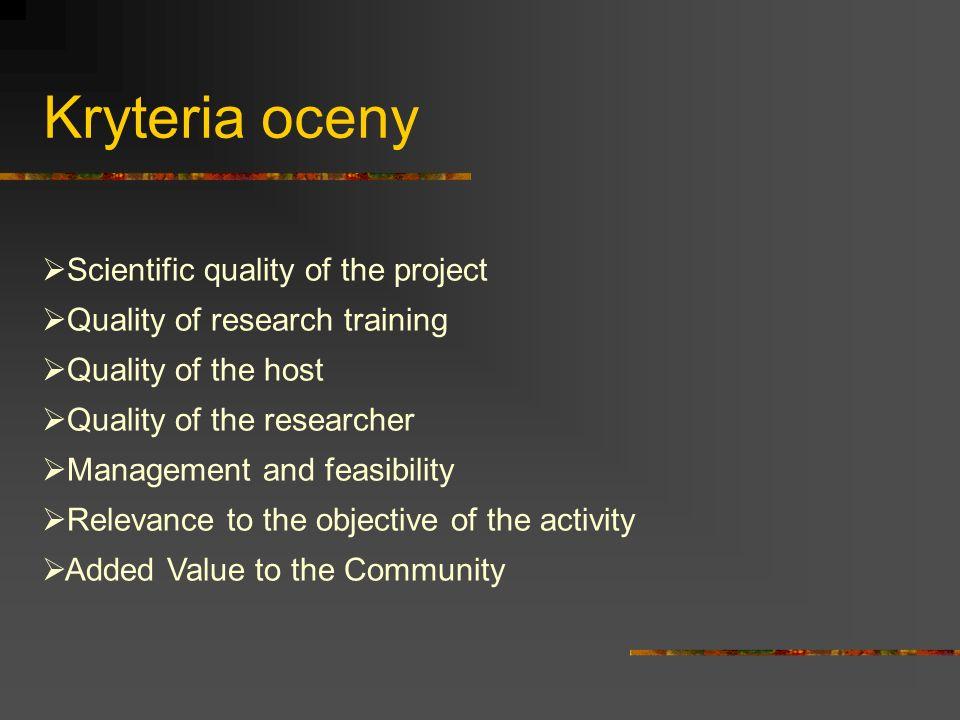Parametry dodatkowe Na przykładzie OIFwagapunkt odcięcia Scientific quality of the project15%- Quality of research training15%3 Quality of the host15%- Quality of the researcher15%4 Management and feasibility5%- Relevance to the objective of the activity15%- Added Value to the Community20%- Punktacja: 0 i od 1 do 5 w odstępach dziesiętnych Waga: przypisana do każdego kryterium jego ważność wyrażona w procentach Punkty odcięcia: minimalna wartość oceny akceptowanej Ocena końcowa podawana w skali 1-5 i procentowo (punkty odcięcia odpowiednio 3,5 oraz 70%)