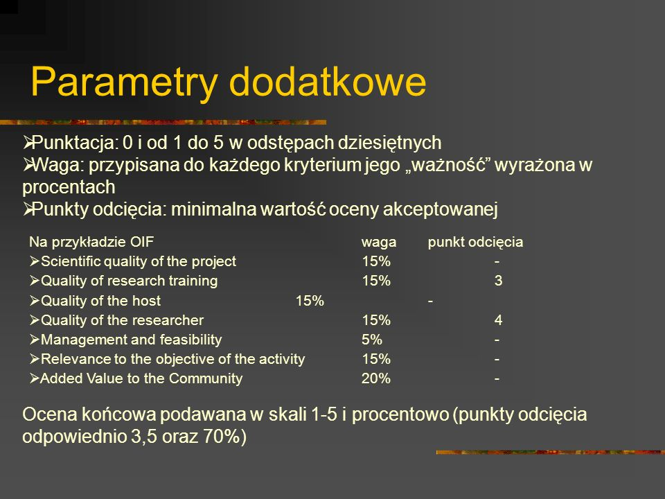 Parametry dodatkowe Na przykładzie OIFwagapunkt odcięcia Scientific quality of the project15%- Quality of research training15%3 Quality of the host15%
