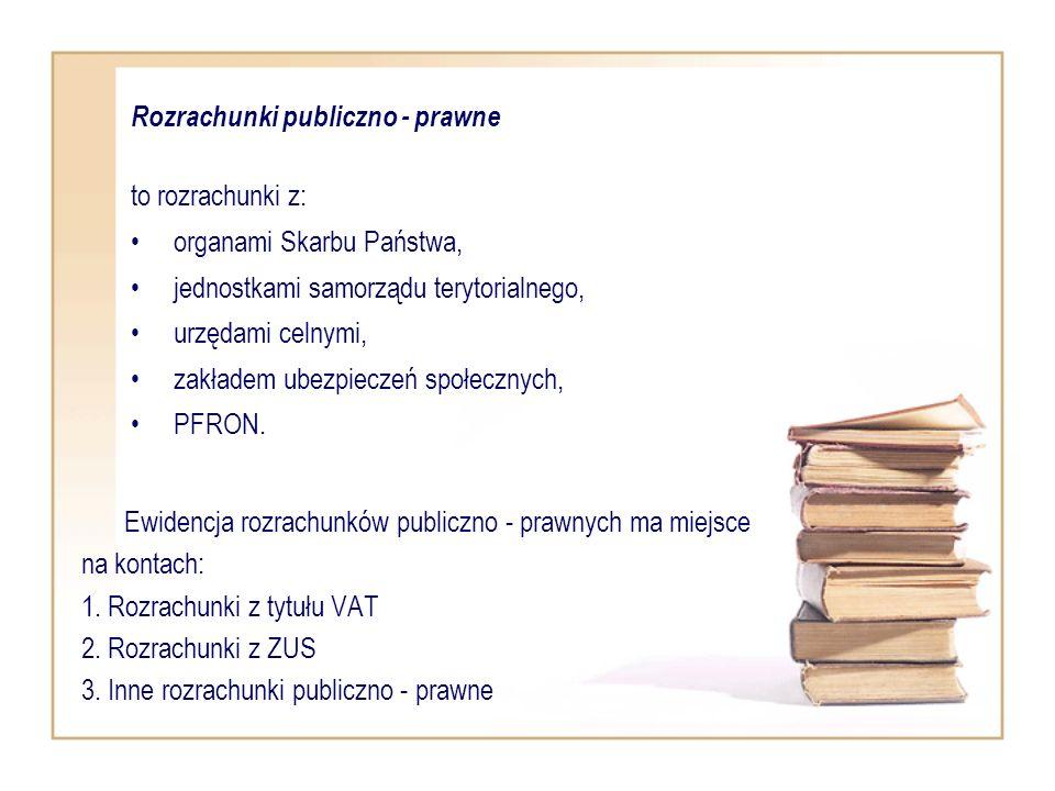 Ewidencja rozrachunków publiczno - prawnych ma miejsce na kontach: 1. Rozrachunki z tytułu VAT 2. Rozrachunki z ZUS 3. Inne rozrachunki publiczno - pr