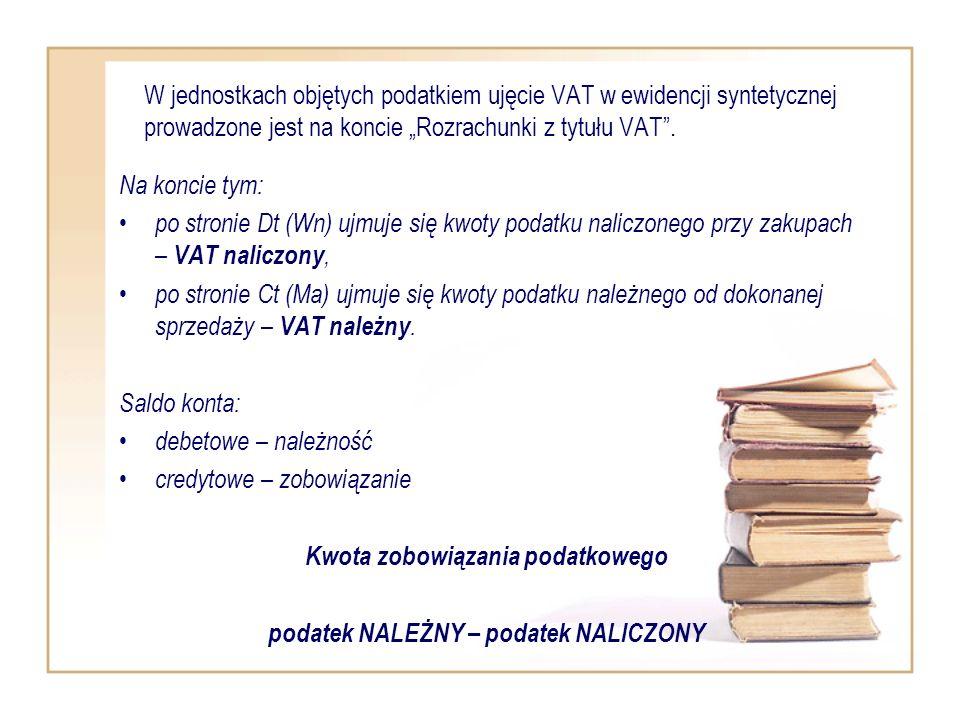 W jednostkach objętych podatkiem ujęcie VAT w ewidencji syntetycznej prowadzone jest na koncie Rozrachunki z tytułu VAT. Na koncie tym: po stronie Dt