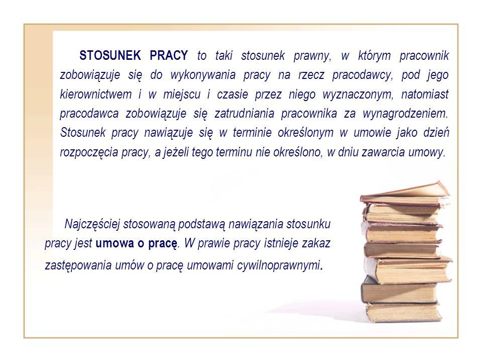 STOSUNEK PRACY to taki stosunek prawny, w którym pracownik zobowiązuje się do wykonywania pracy na rzecz pracodawcy, pod jego kierownictwem i w miejsc