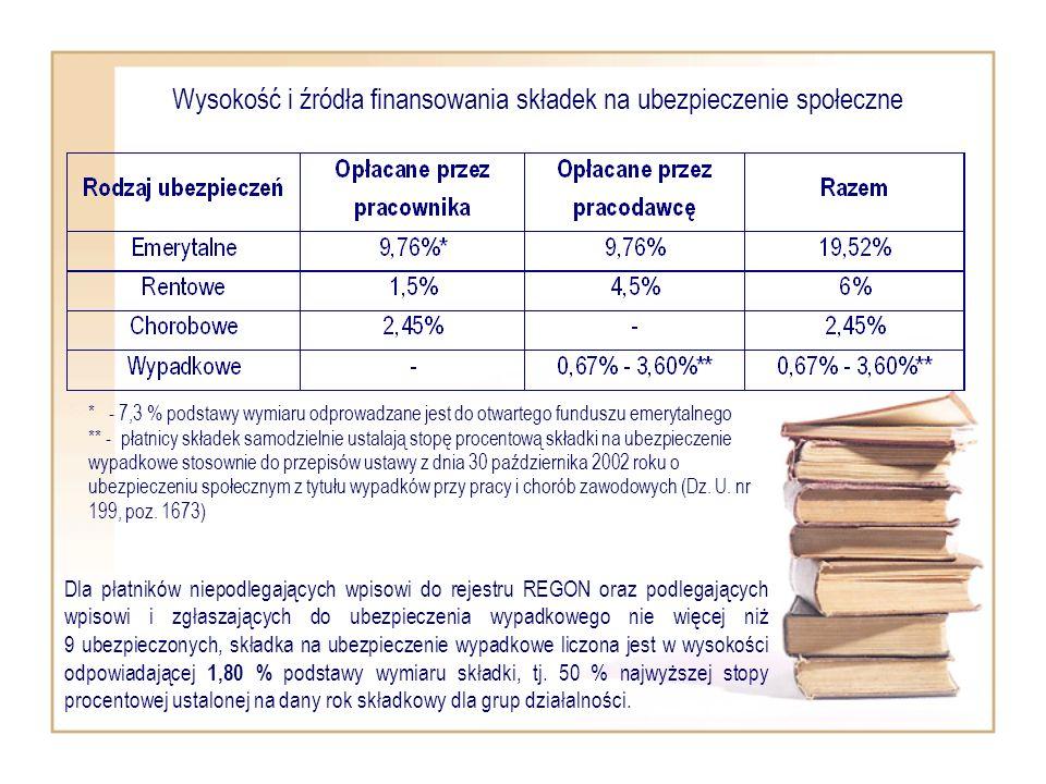 Wysokość i źródła finansowania składek na ubezpieczenie społeczne Dla płatników niepodlegających wpisowi do rejestru REGON oraz podlegających wpisowi