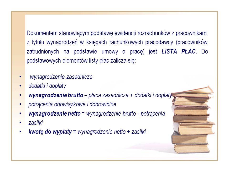 Dokumentem stanowiącym podstawę ewidencji rozrachunków z pracownikami z tytułu wynagrodzeń w księgach rachunkowych pracodawcy (pracowników zatrudniony