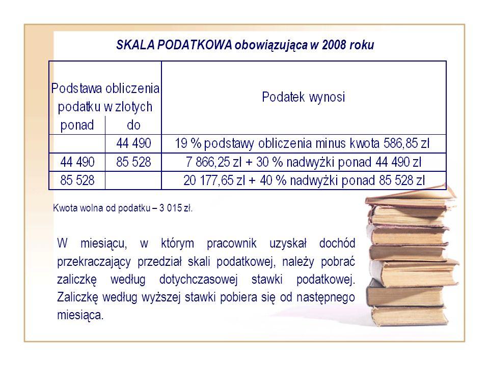 SKALA PODATKOWA obowiązująca w 2008 roku W miesiącu, w którym pracownik uzyskał dochód przekraczający przedział skali podatkowej, należy pobrać zalicz