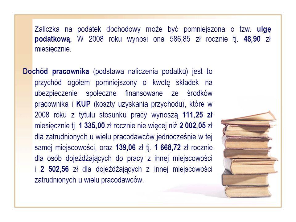 Zaliczka na podatek dochodowy może być pomniejszona o tzw. ulgę podatkową. W 2008 roku wynosi ona 586,85 zł rocznie tj. 48,90 zł miesięcznie. Dochód p