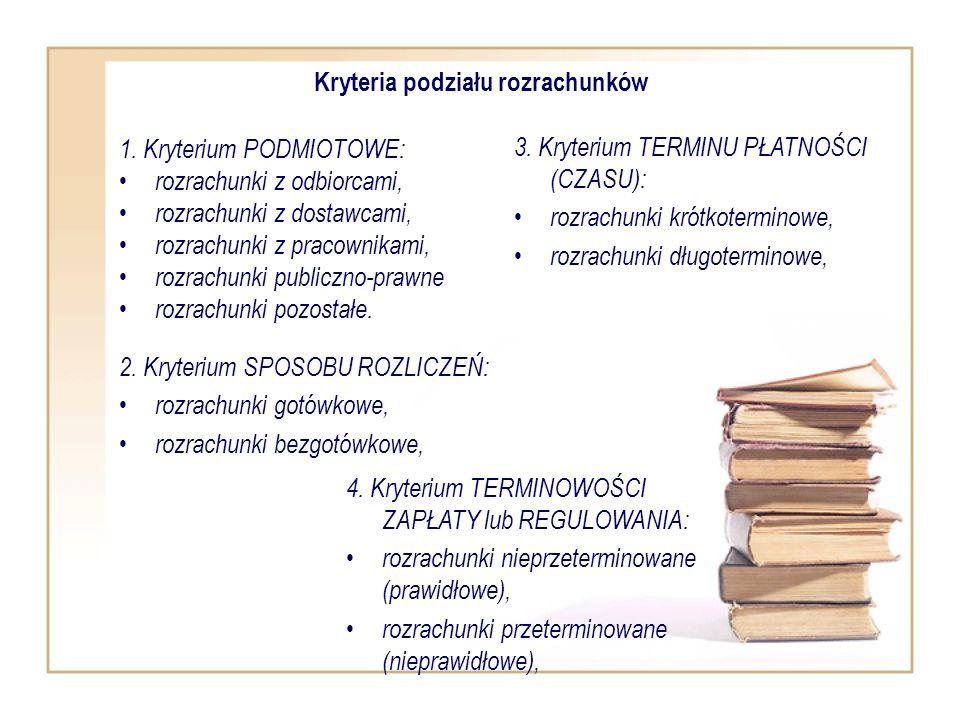 Kryteria podziału rozrachunków 1. Kryterium PODMIOTOWE: rozrachunki z odbiorcami, rozrachunki z dostawcami, rozrachunki z pracownikami, rozrachunki pu