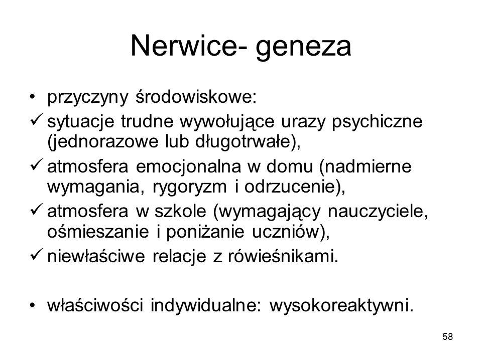 58 Nerwice- geneza przyczyny środowiskowe: sytuacje trudne wywołujące urazy psychiczne (jednorazowe lub długotrwałe), atmosfera emocjonalna w domu (na
