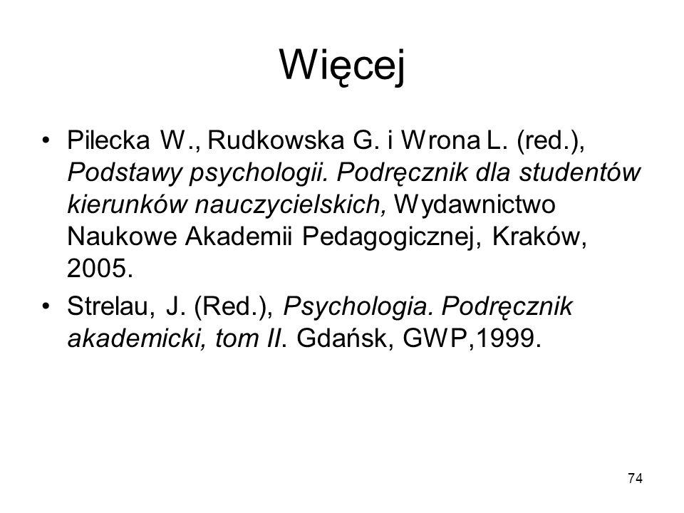 74 Więcej Pilecka W., Rudkowska G. i Wrona L. (red.), Podstawy psychologii. Podręcznik dla studentów kierunków nauczycielskich, Wydawnictwo Naukowe Ak