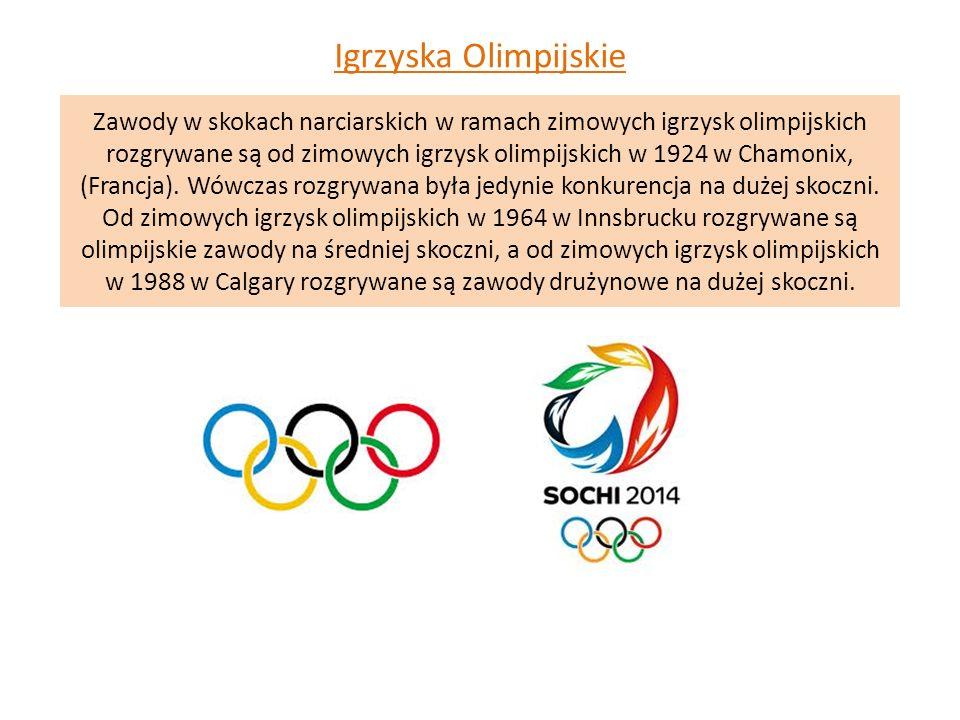 Zawody w skokach narciarskich w ramach zimowych igrzysk olimpijskich rozgrywane są od zimowych igrzysk olimpijskich w 1924 w Chamonix, (Francja). Wówc