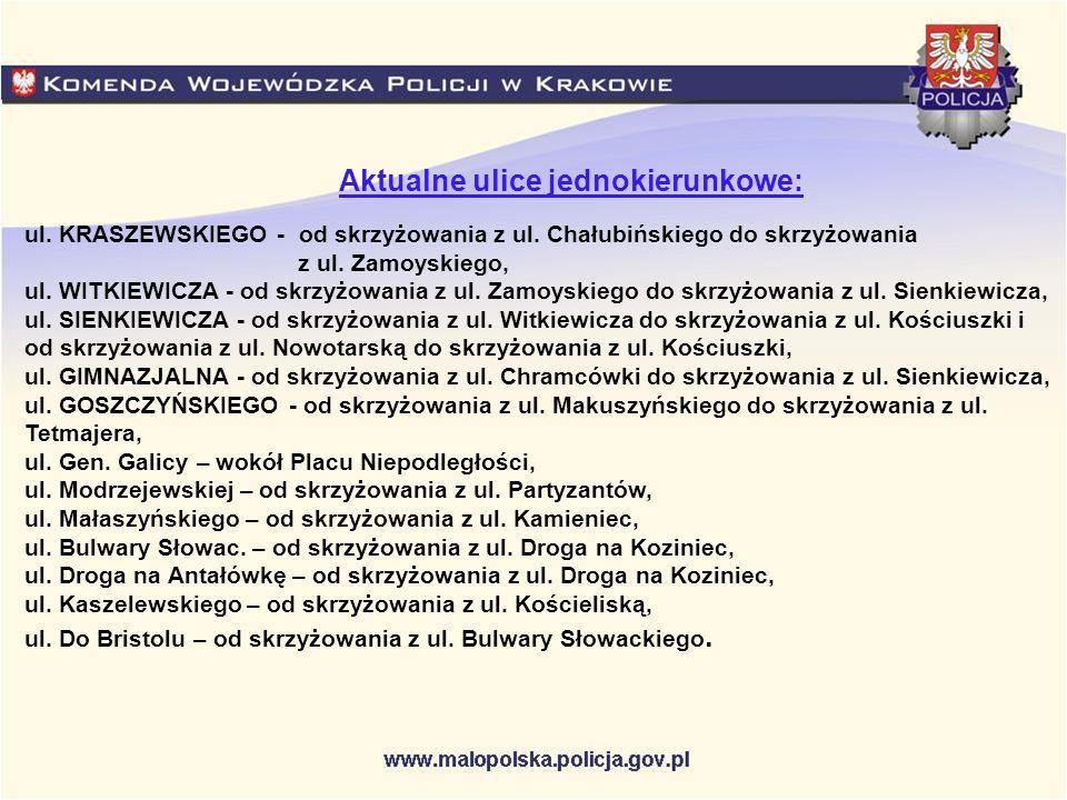 Aktualne ulice jednokierunkowe: ul. KRASZEWSKIEGO - od skrzyżowania z ul. Chałubińskiego do skrzyżowania z ul. Zamoyskiego, ul. WITKIEWICZA - od skrzy