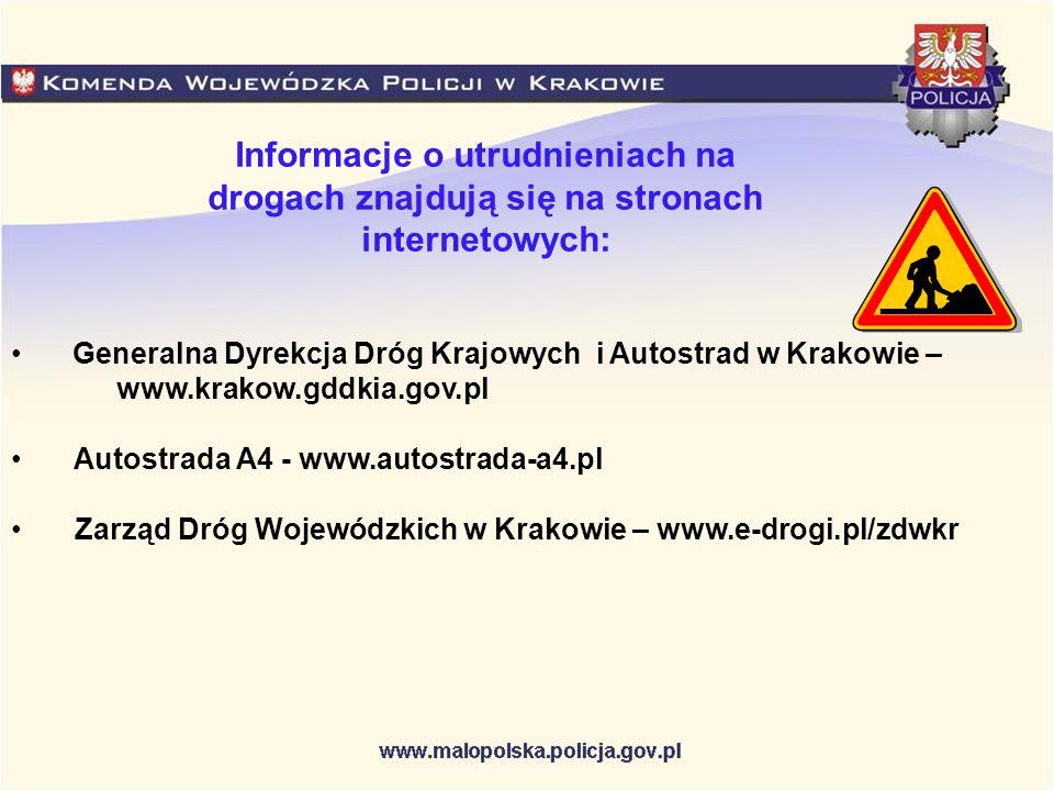 Informacje o utrudnieniach na drogach znajdują się na stronach internetowych: Generalna Dyrekcja Dróg Krajowych i Autostrad w Krakowie – www.krakow.gd