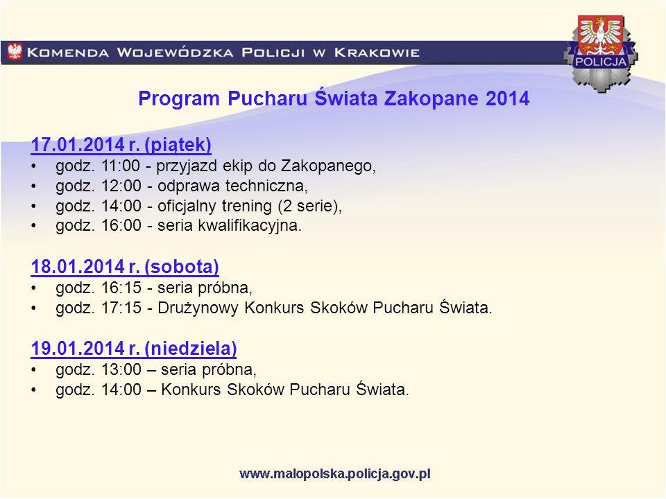 Program Pucharu Świata Zakopane 2014 17.01.2014 r. (piątek) godz. 11:00 - przyjazd ekip do Zakopanego, godz. 12:00 - odprawa techniczna, godz. 14:00 -