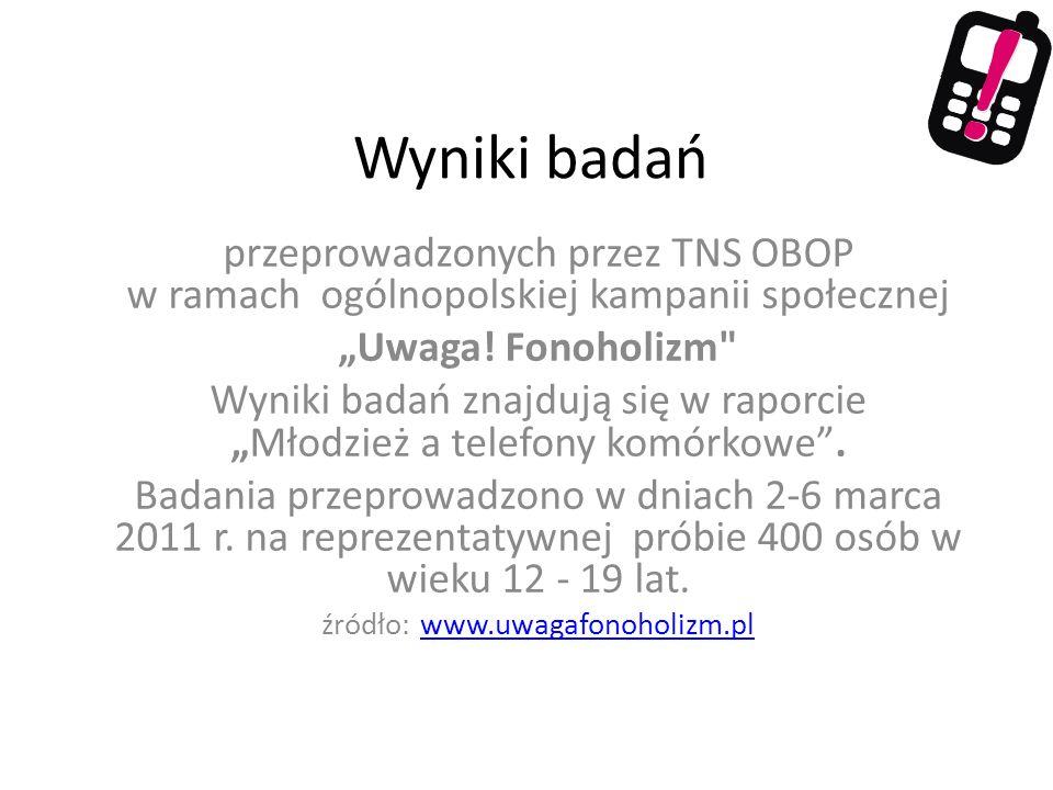 Wyniki badań przeprowadzonych przez TNS OBOP w ramach ogólnopolskiej kampanii społecznej Uwaga! Fonoholizm