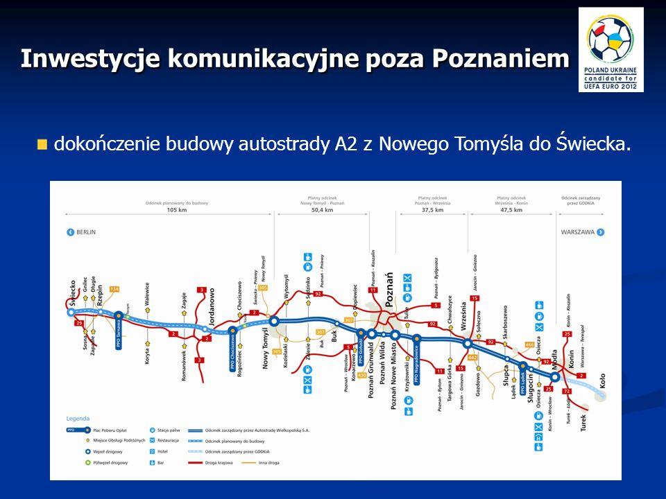 przyspieszenie budowy drogi ekspresowej S5 (Wrocław – Poznań – Bydgoszcz) Inwestycje komunikacyjne poza Poznaniem szybkie połączenie trzech miast - gospodarzy: Wrocław – Poznań – Gdańsk; dogodne poruszanie się kibiców.