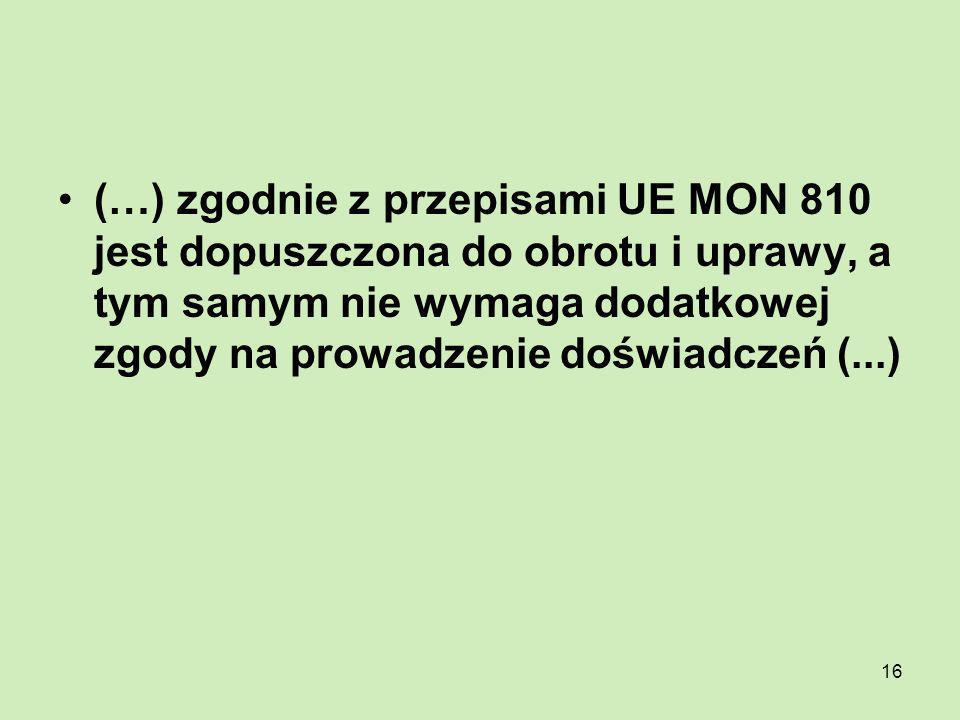 16 (…) zgodnie z przepisami UE MON 810 jest dopuszczona do obrotu i uprawy, a tym samym nie wymaga dodatkowej zgody na prowadzenie doświadczeń (...)